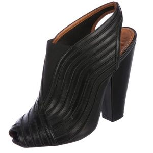 GIVENCHY black leather peep-toe heeled booties